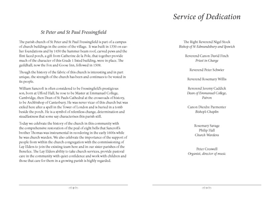 Dedication of the Bells Service service pages