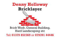 Card for bricklayer Denny Holloway
