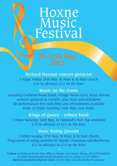 Hoxne Music Festival 2012 events poster