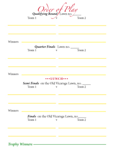 Croquet Tournament Players' Score Card, flap