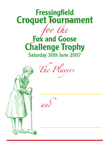 Croquet Tournament Players' Score Card, front