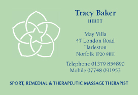 Card for sports therapist Tracy Baker